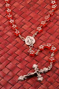 Red Acrylic Star Bead Rosary