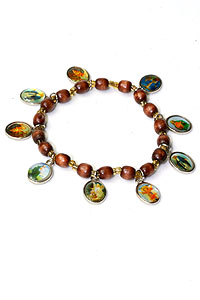Wood Bead Religious Bracelet with Medals