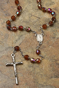 Brown Acrylic Bead Rosary