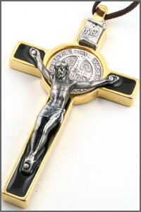 St Benedict Crucifix in Black Enamel